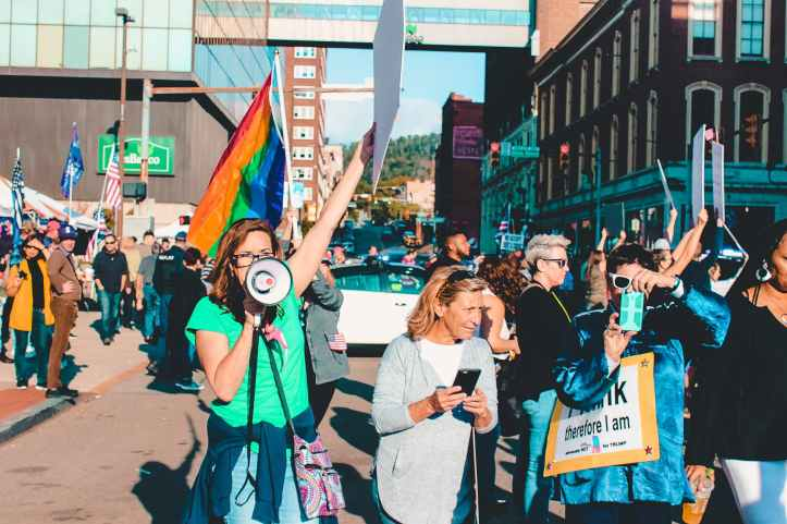 people rallying on street