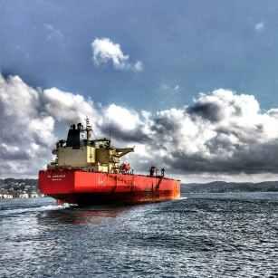 cargo ship on the sea